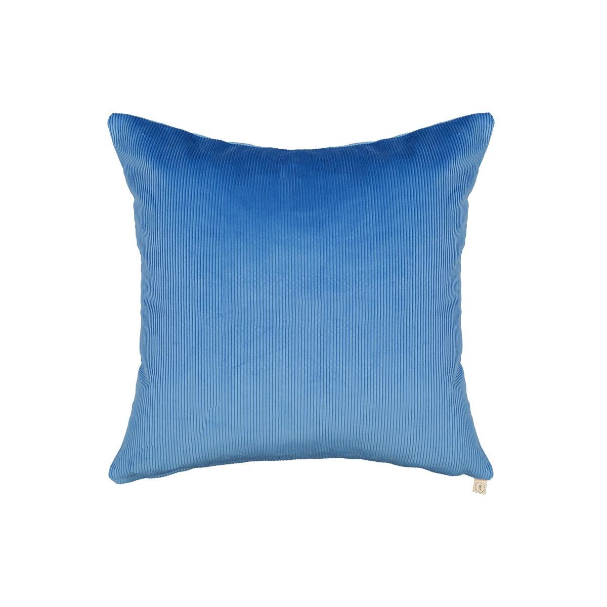 Coussin Carino velours côtelé bleu