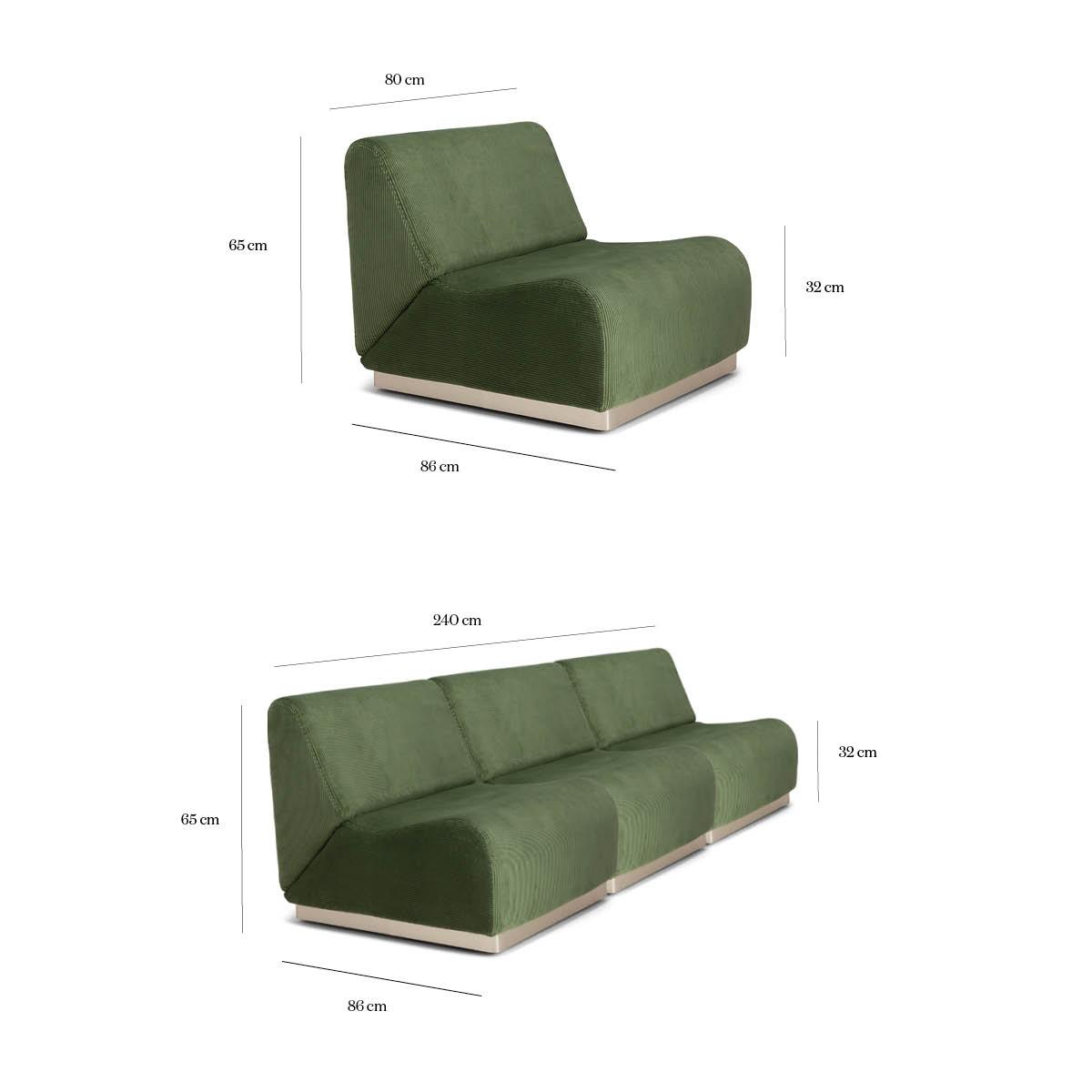 Canapé En Velours Cotelé canapé en velours côtelé vert amande - rotondo - the