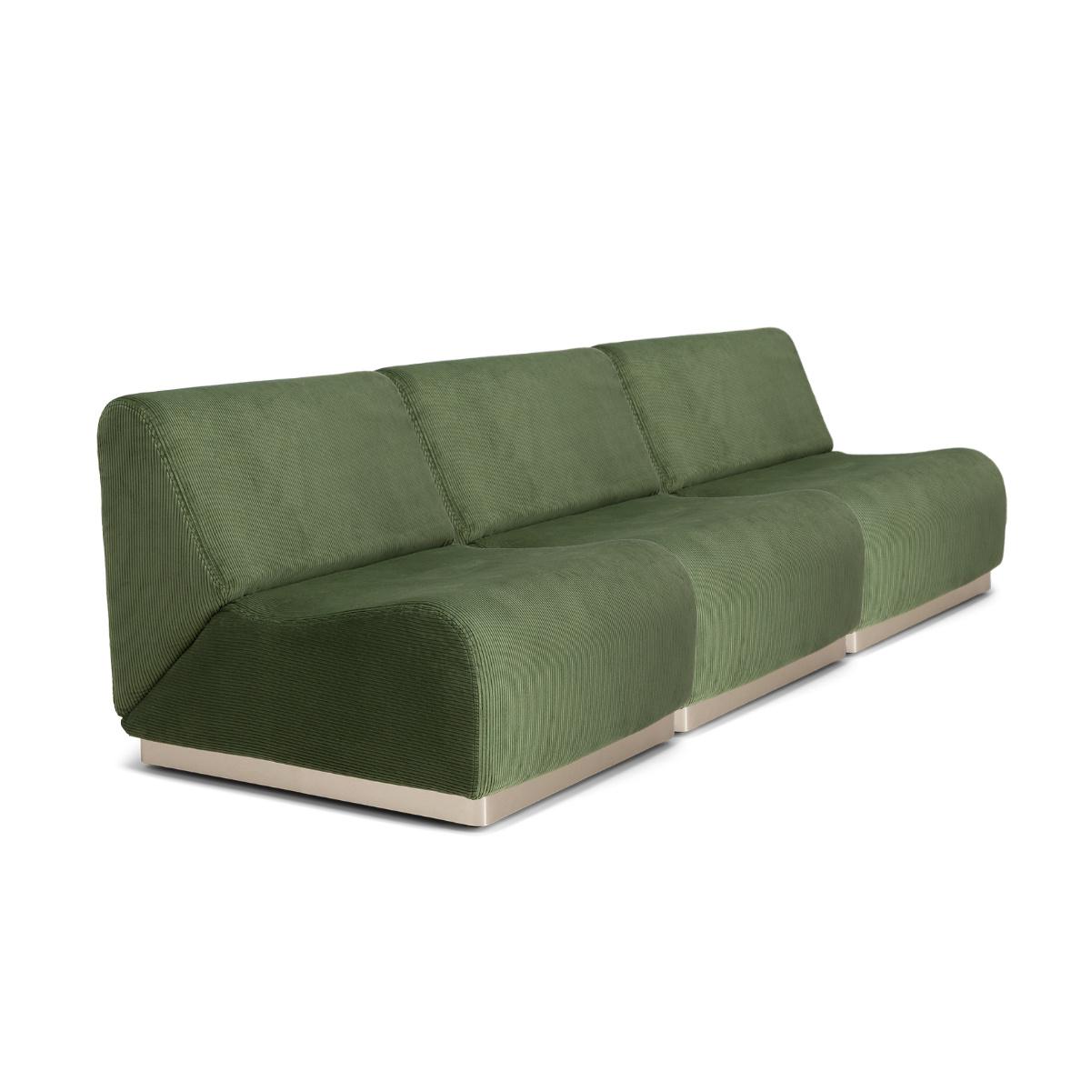 Canapé En Velours Cotelé canapé modulable rotondo velours côtelé vert amande