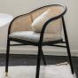 Fauteuil Cavallo noir laine bouclette noire et blanche