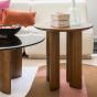 Table basse Carlotta pieds frêne finition iroko et verre