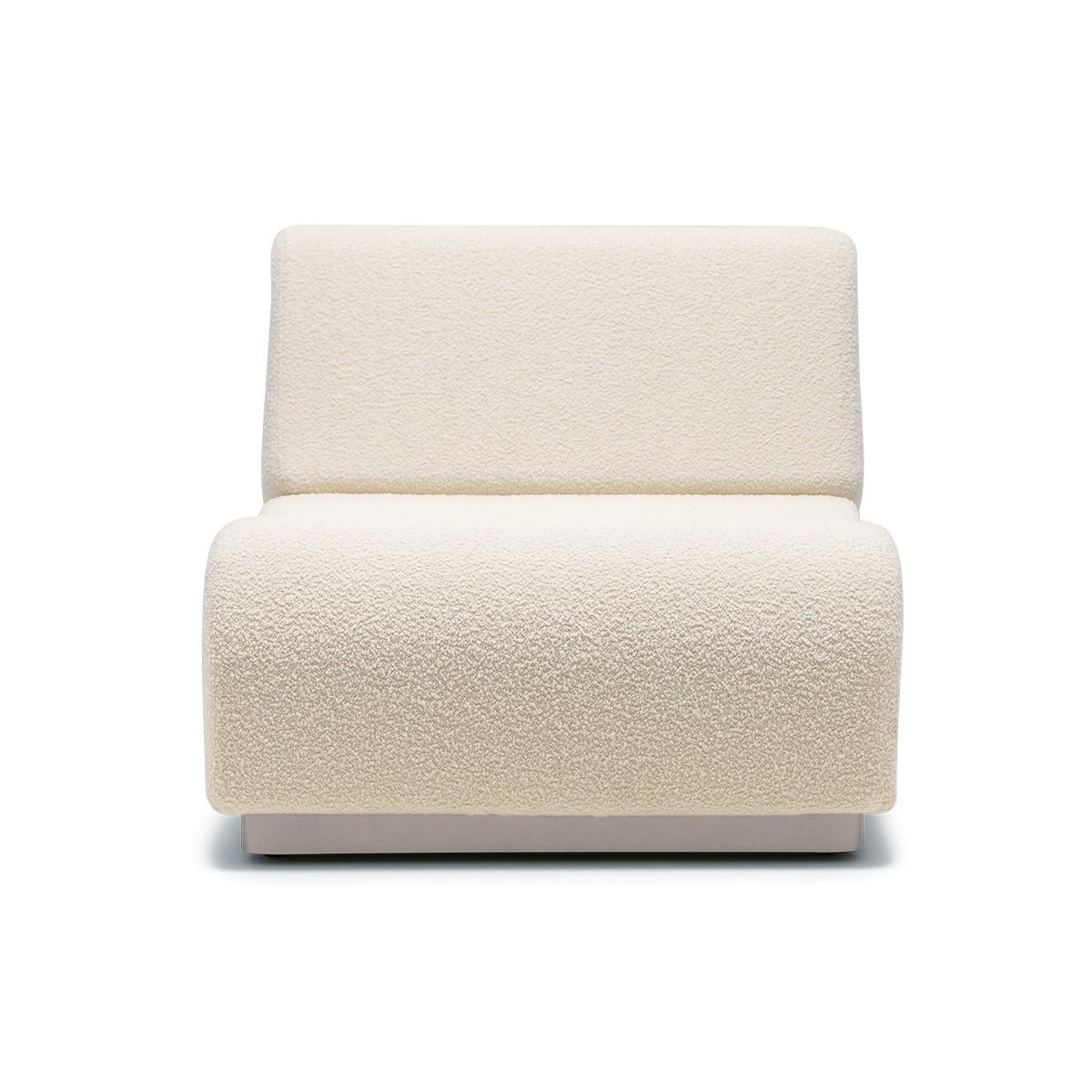 Chauffeuse modulable Rotondo laine bouclette blanc crème