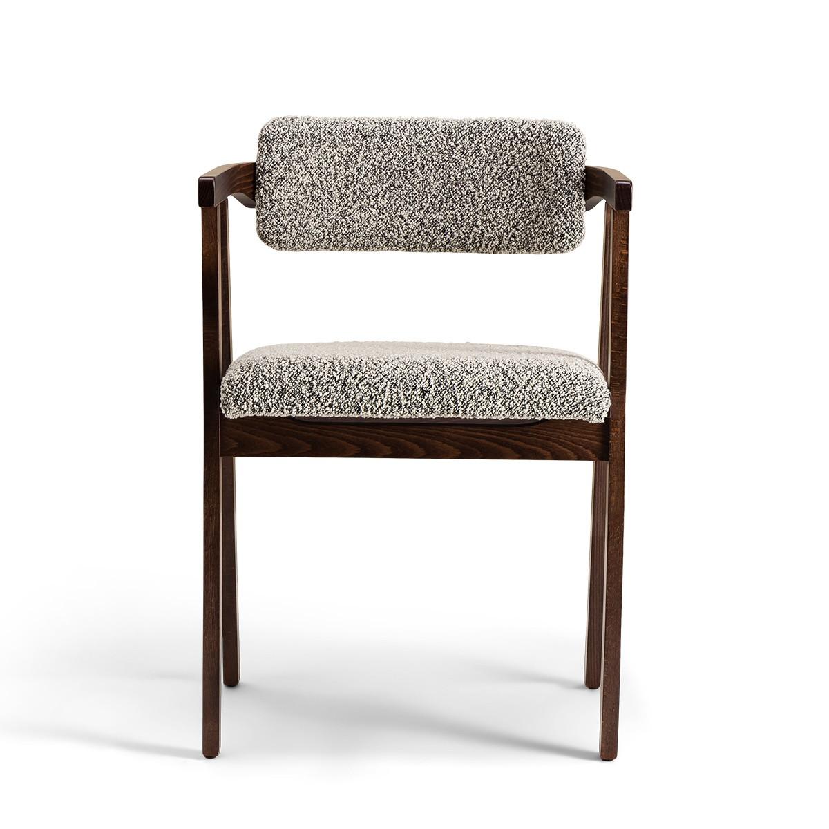 Chaise Milano bois brun laine bouclette noir et blanc