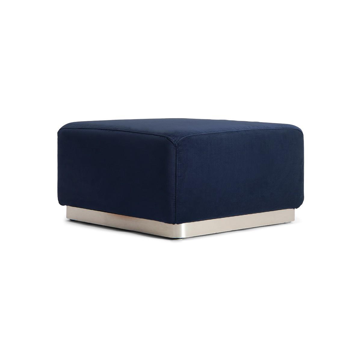Pouf Rotondo velours bleu nuit