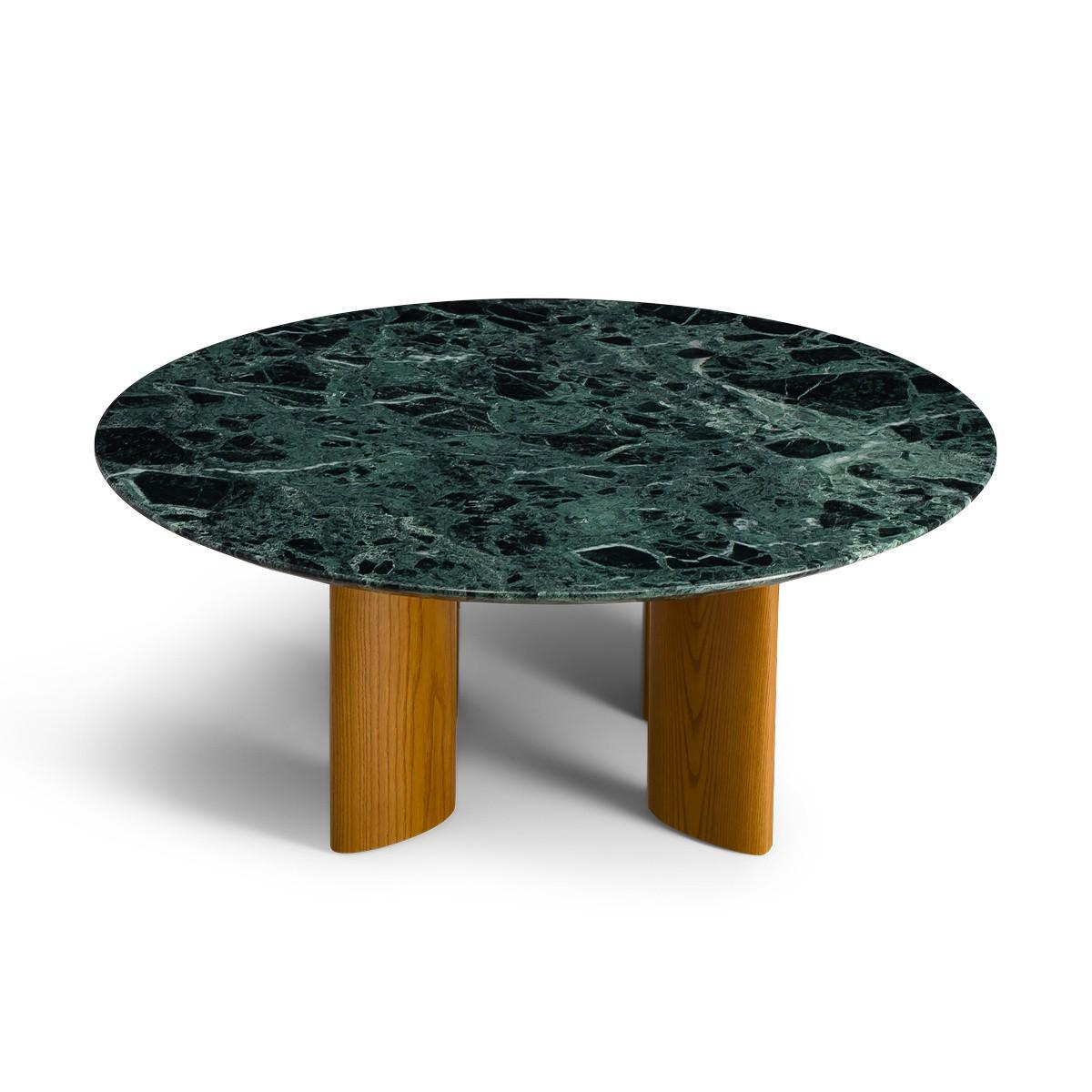 Table basse Carlotta pieds frêne finition iroko et marbre vert