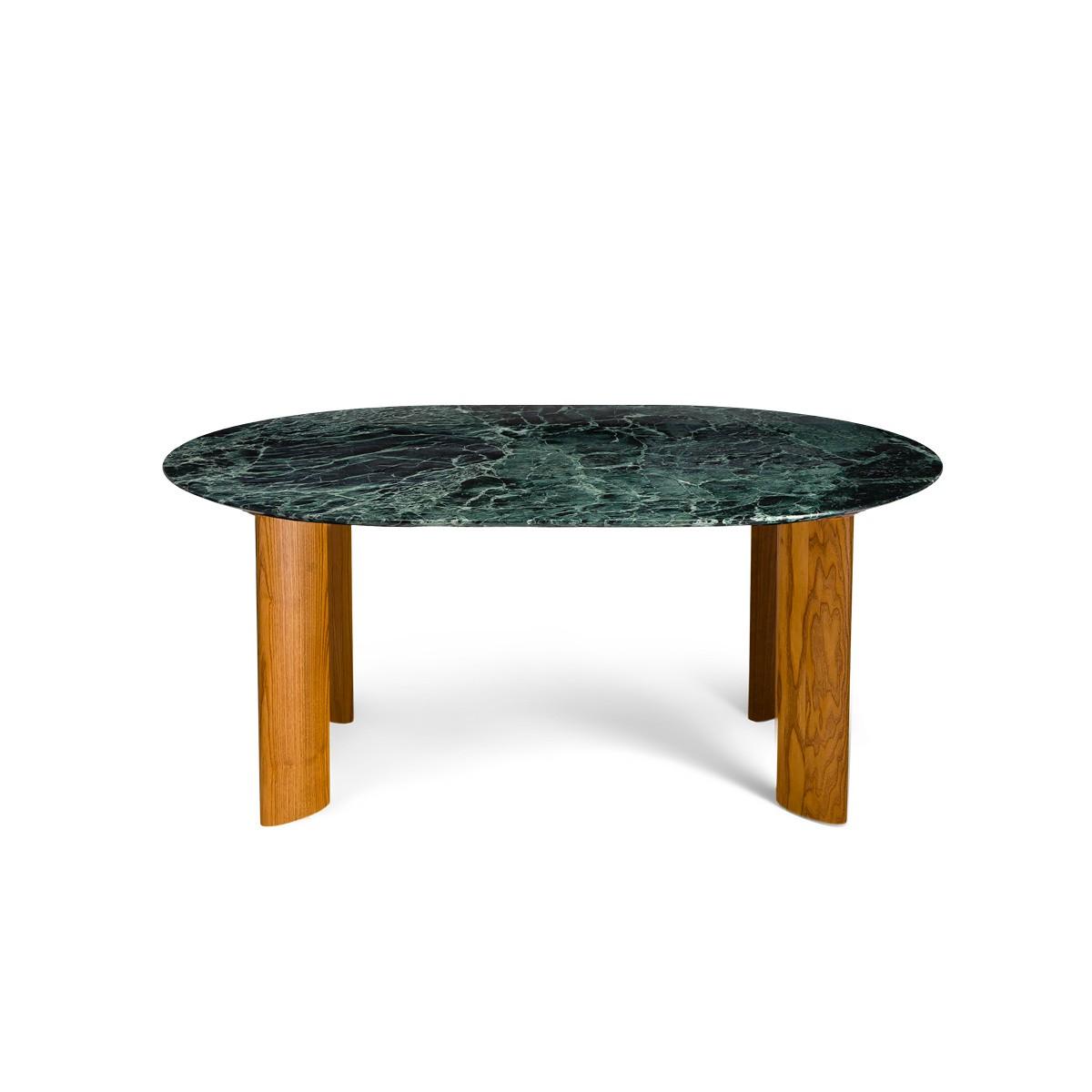 Table de salle à manger Carlotta Alta marbre vert et pieds frêne finition iroko - 6 places