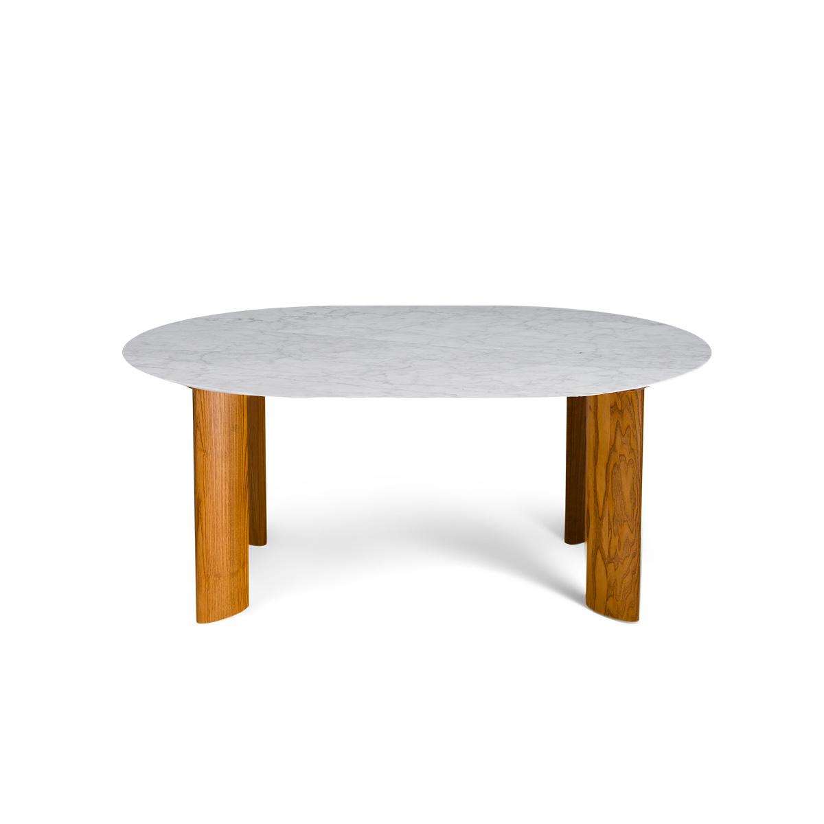 Table de salle à manger Carlotta Alta marbre blanc et pieds frêne finition iroko - 6 places
