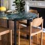 Table de salle à manger Carlotta Alta marbre vert et pieds noirs - 8 places