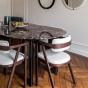 Table de salle à manger Carlotta Alta marbre rouge et pieds noirs - 6 places