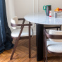Table de salle à manger Carlotta Alta marbre blanc et pieds noirs - 6 places
