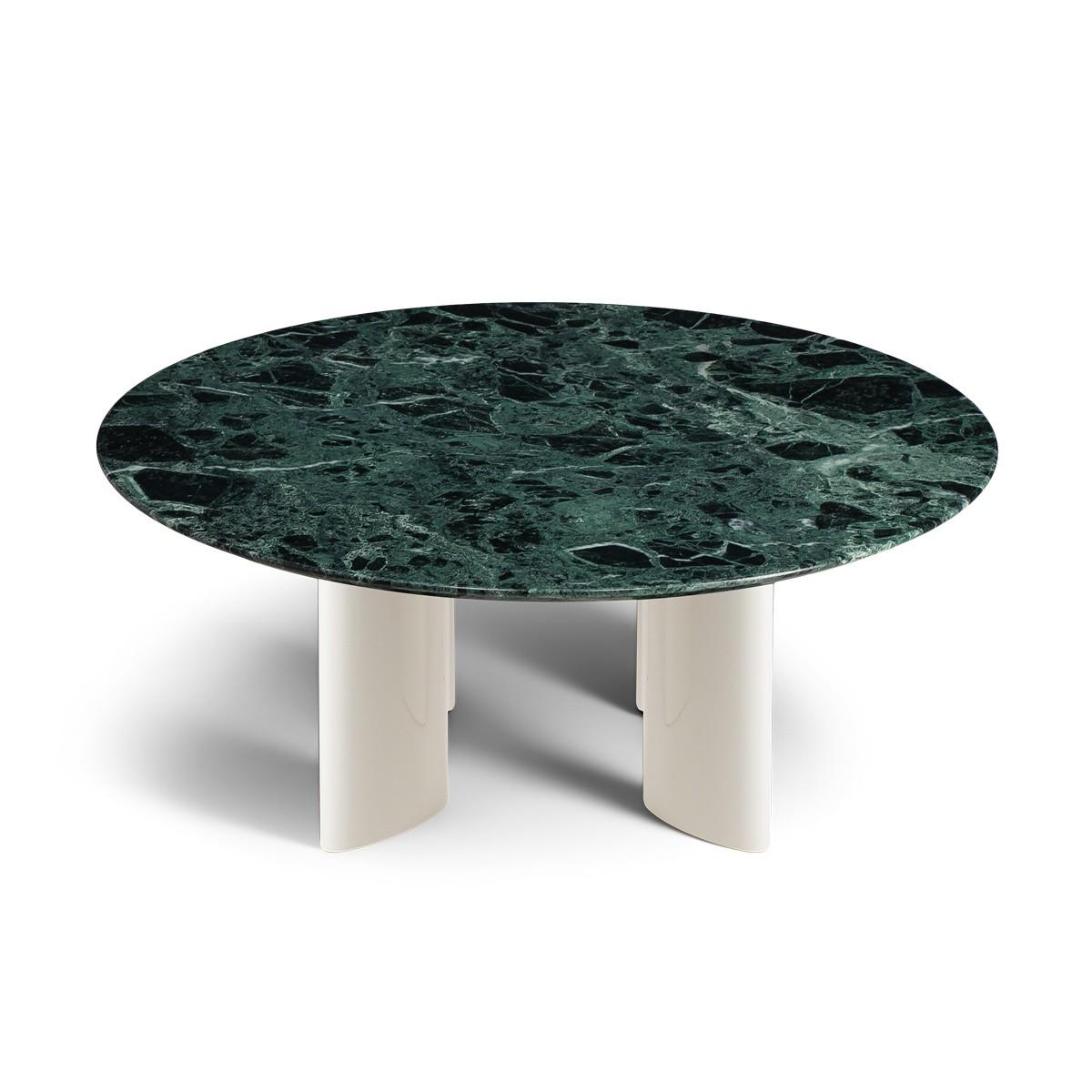 Table basse Carlotta pieds blanc crème et marbre vert