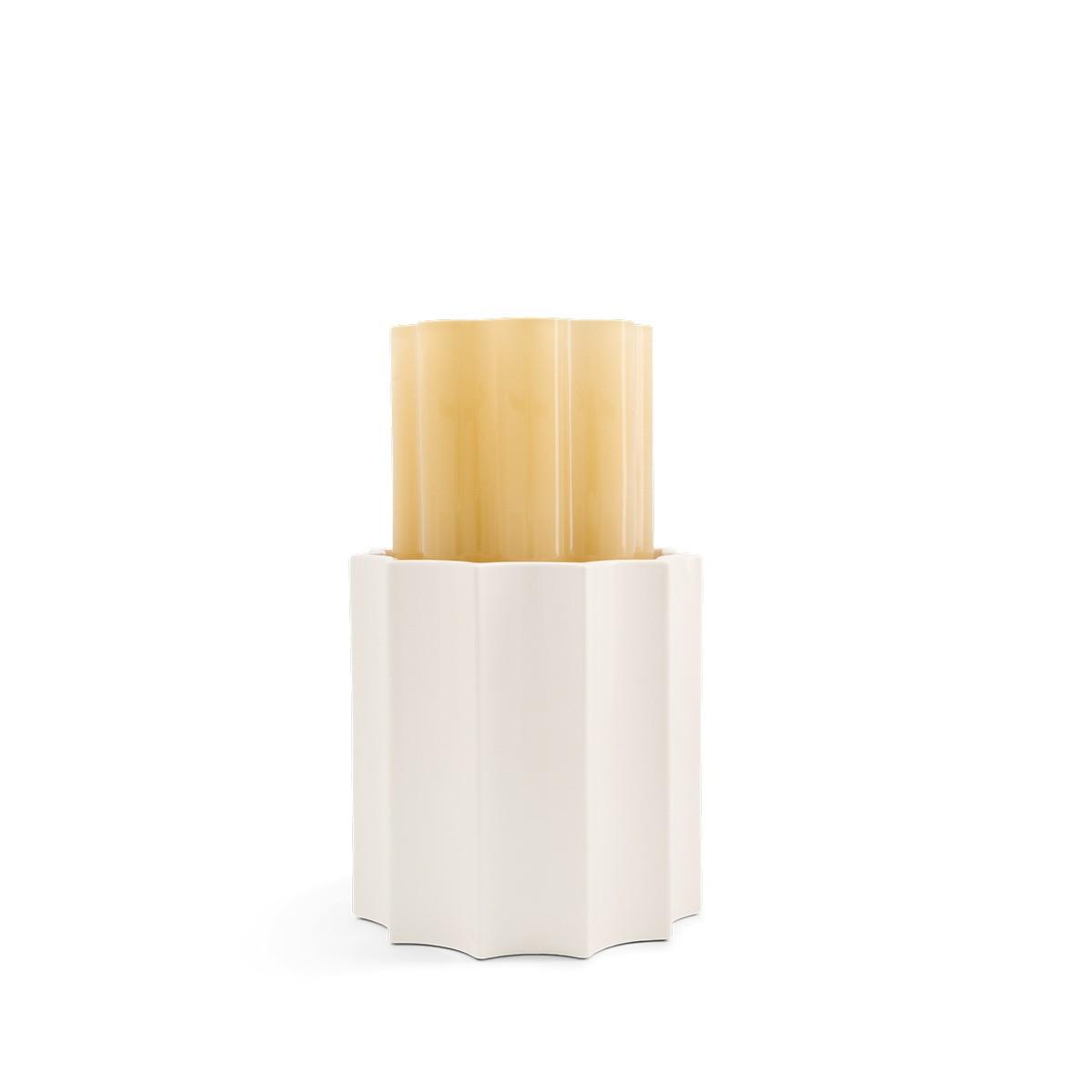 Vase Duetto jaune ambré et blanc