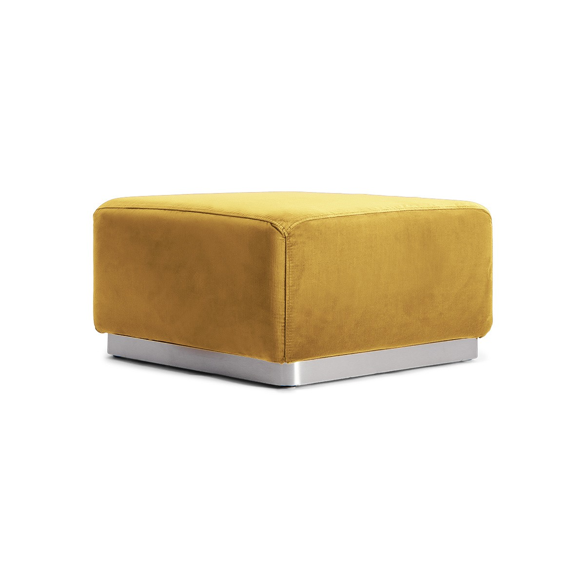 Pouf Rotondo velours moutarde