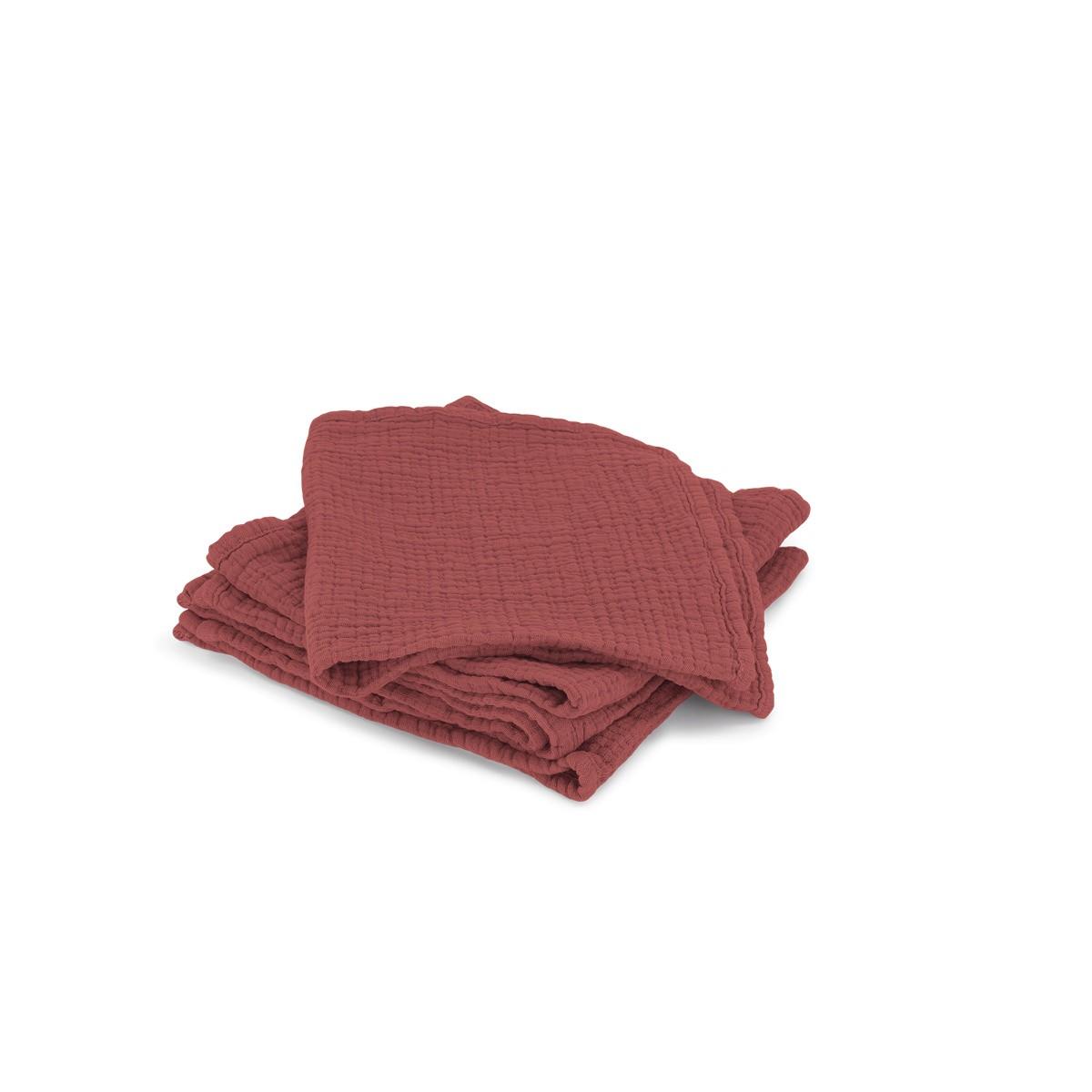 Set de 4 serviettes Allegra en gaze de coton brique