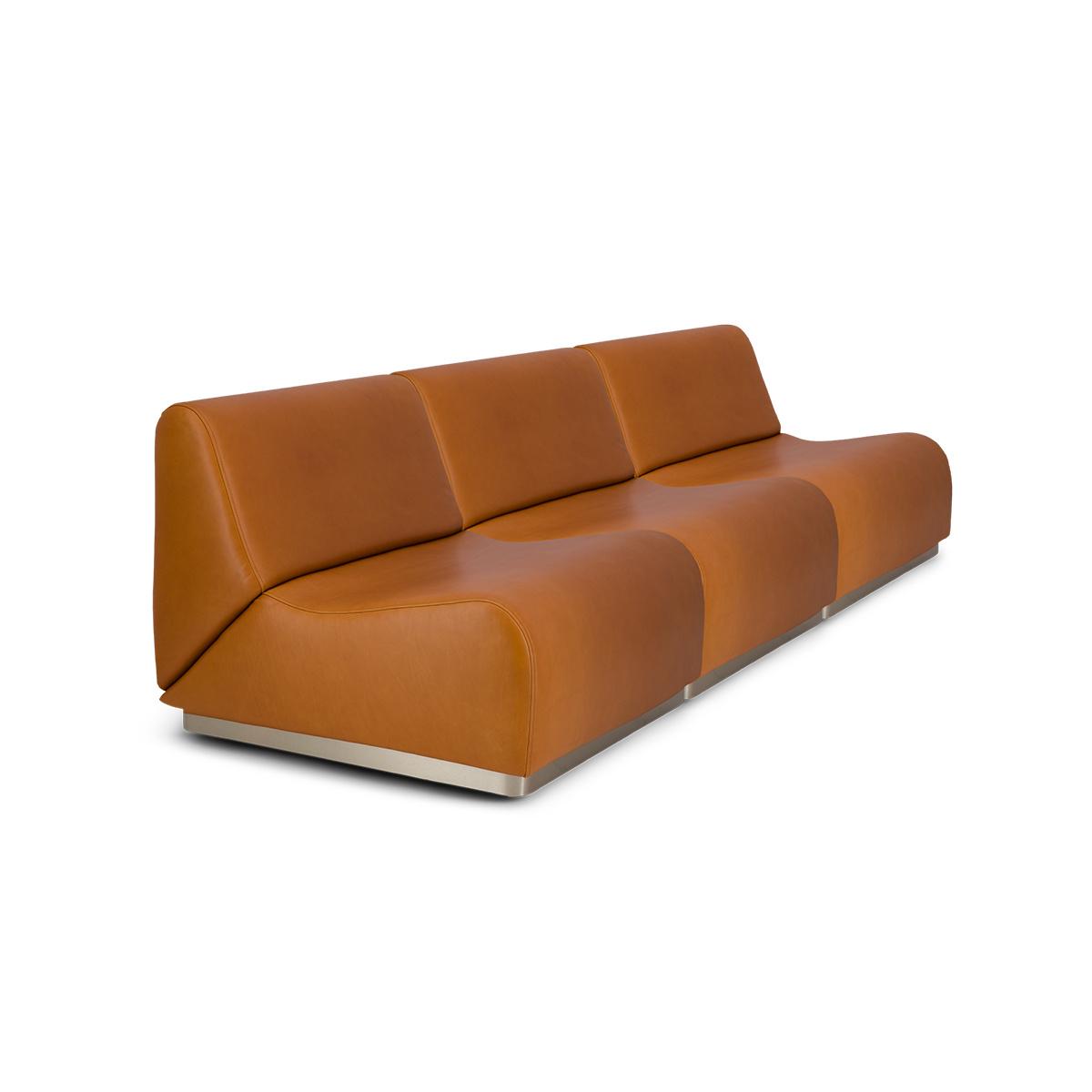 Canapé modulable Rotondo en cuir camel